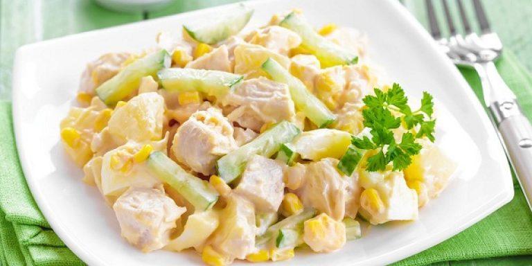 Салат с отварной грудкойы