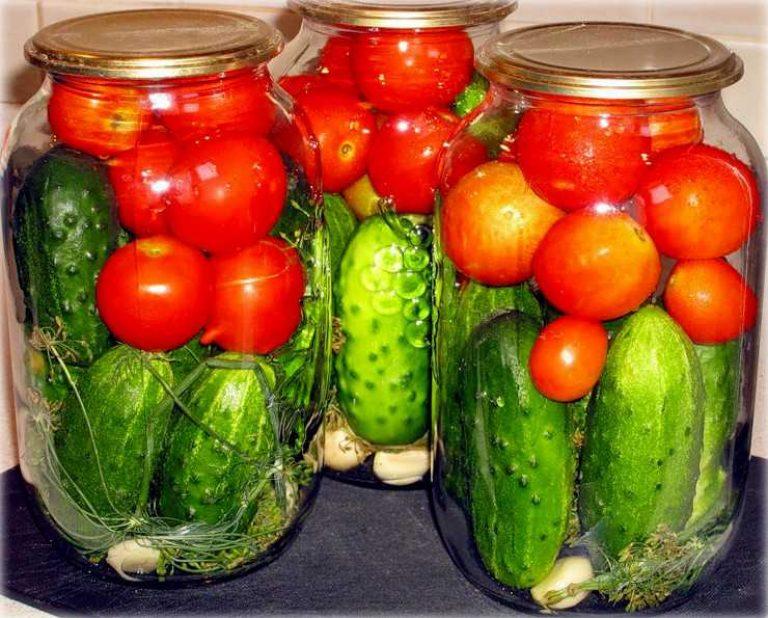 Консервация помидор с огурцами